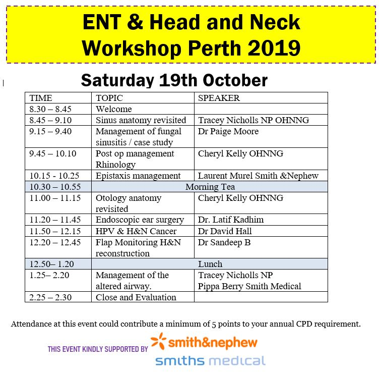 ENT & Head and Neck Workshop Perth 2019